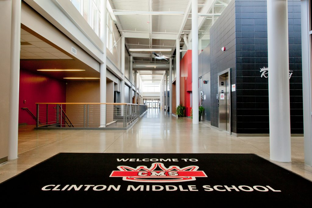 Entry way at the New Clinton Middle School