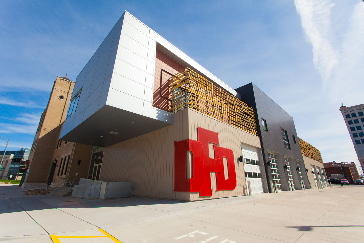 Extreme perspective view of the new Davenport Fire Department building